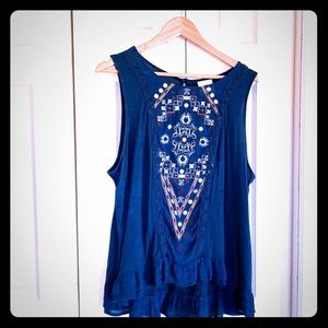 Embroidered sleeveless knit top—so lovely!